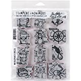 """Stampers Anonymous Tim Holtz Cling Rubber Mini Blueprints No.9 Stamp Set, 7 x 8.5"""""""