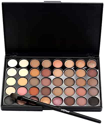 LandFox Cosmetic Matte Eyeshadow Cream Makeup Palette Shimmer Set 40 Color+ Brush Set+Fishtail Bottom Brush (A)