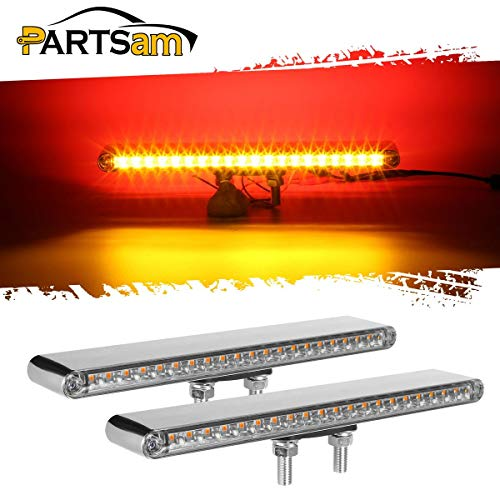 Partsam 2Pcs 12 Clear Lens Red/Amber LED Combo Dual Face Truck Semi Trailer Light Bars 20LED Waterproof w Double Studs Sealed Trailer Led Pedestal Turn Signal Stop Tail Marker Lights