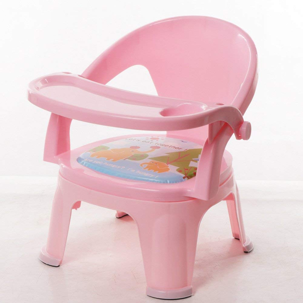 QTQZ Brisk - Kids Chair with Sound Chair Bring A Table with Kids Chair Dining Table Backrest Stool Plastic (Color: Light Pink - Without Plates)