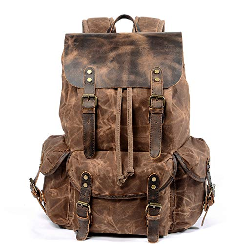 Mens Waxed Canvas Backpack Leather Rucksack Hiking Daypacks Computers Laptop Backpacks Unisex Casual Rucksack Satchel Bookbag Mountaineering Bag