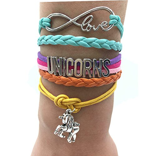 (TimeLogo Infinity UNICORNS Bracelet-Handmade Gift for Girls UNICORN Jewelry, Infinity Bracelet Unicorn Charm, Gift Boxed Women and girls Children and adult sizing)
