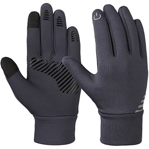 VBG VBIGER Kids Winter Gloves Boys Girls Touchscreen Gloves Fleece Lined Sports Gloves Anti-slip Bike Gloves for Children 4-10 Years Old (Medium (approx 6-8 years old), Grey) ()
