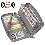 YALUXE Women's RFID Blocking Leather Large Zipper Wallet Passport Holder Grey
