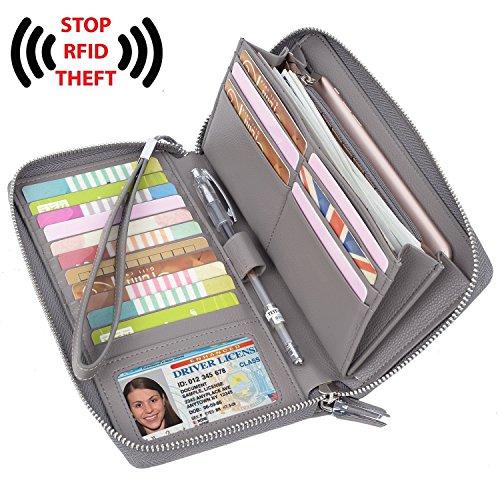 YALUXE Women's RFID Blocking Leather Large Zipper Wallet Passport Holder Grey by YALUXE