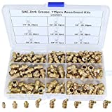 "Boeray 115pcs 1/4"" 1/8"" Hydraulic Grease Brass Zerk Fitting SAE Standard Assortment Kit-Straight, 90-Degree, 45-Degree Angled Zerk Assortment Set"