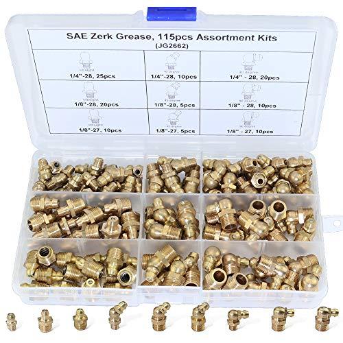 Boeray 115pcs 1/4 1/8 Hydraulic Grease Brass Zerk Fitting SAE Standard Assortment Kit-Straight, 90-Degree, 45-Degree Angled Zerk Assortment Set