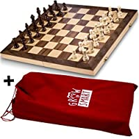 Smart Tactics Folding Chess Set Made By FSC Certified Wood - Plus Edition With Chess Bag