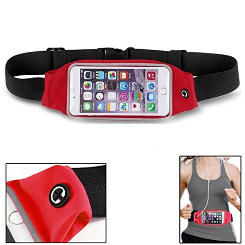 Red Sweatproof Reflective Sports Belt Waist Bag Case with Transparent Touch Screen Window for Virgin Mobile Sharp Aquos Crystal - Virgin Mobile ZTE Reef (Virgin Mobile Reef)