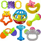 KRP Enterprise Plastic Non Toxic Colorful 7 Rattles and 1 ChuChu Toy Set for New Borns and Infants (Multicolour)