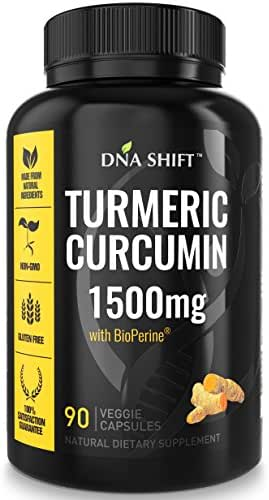 Turmeric Curcumin 1500mg with BioPerine – 90 Capsules Extra Strength Supplement with curcuminoids 95 and Black Pepper Extract - Anti inflammatory Health Benefits Best for Joint & Knee Pain