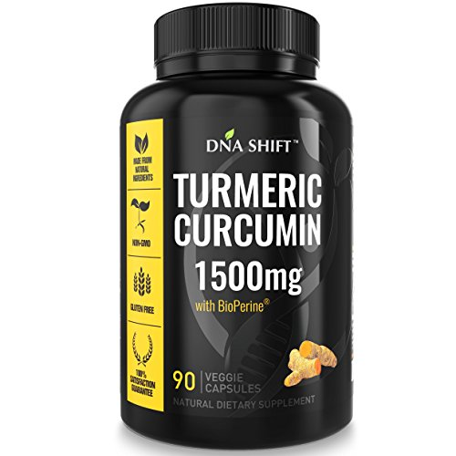 DNA Shift Turmeric Curcumin 1500mg with BioPerine – 90 Capsules Extra Strength Supplement with curcuminoids 95 and Black Pepper Extract – Anti inflammatory Health Benefits Best for Joint & Knee Pain Review