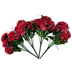 MM TJ Products Artificial Carnations Bushes. 7 Stems Pack of 4 Bushes 90