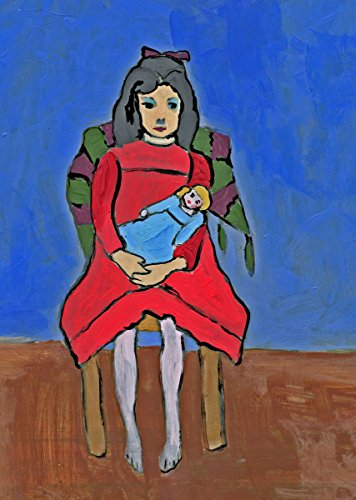 Gabriele Münter - Study of Girl with Doll, Size 24x36 inch, Poster art print wall décor