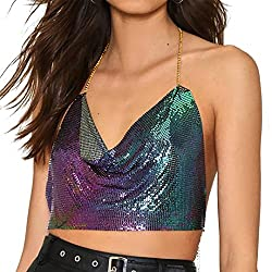 Colourful Sequin With Chain Strap T-Shirt