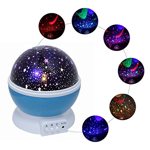 Monkeybrother Colorful Star Light 4 LED Beads, 3 Model Light, 4.9 FT (1.5 M) USB Cord Romantic Rotating Cosmos Star Sky Moon Projector, Night Light for Kids,Decorative Light( blue) by Monkeybrother