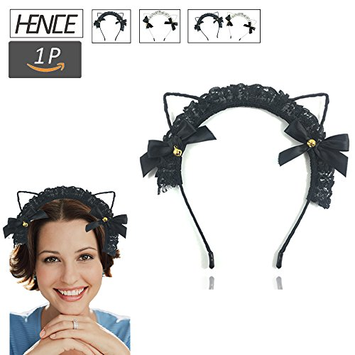 HENCE Cat Ears Headbands Sexy Lovely Women Fashion Lace Cat Ear Headband Crystal Hair Band Costume Cosplay Party Favors Decoration(Black)