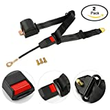 8milelake 2 Pack Universal Adjustable Retractable 3 Point Auto Car Safety Seat Black Lap Belt with Buckle (QTY2)