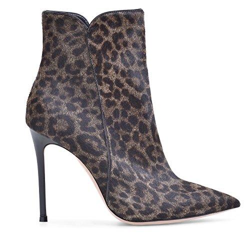 4 para de Zapatos Botas de Leopardo alto Cremallera tac¨®n Botines inch mujer con Botines ELASHE tac¨®n qfxwpgBp