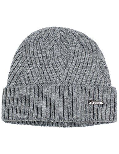 (Dahlia Men's Wool Blend Beanie Hat - Warm Velour Lined Twill Weave - Light Gray)