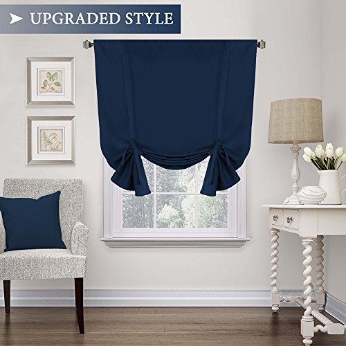 Thermal Insulated Blackout Tie up Curtain, Room Darkening Window Shade (Rod Pocket Panel for Small Window) - 42' Wide by 63' Long - Solid in Navy from H.Versailtex