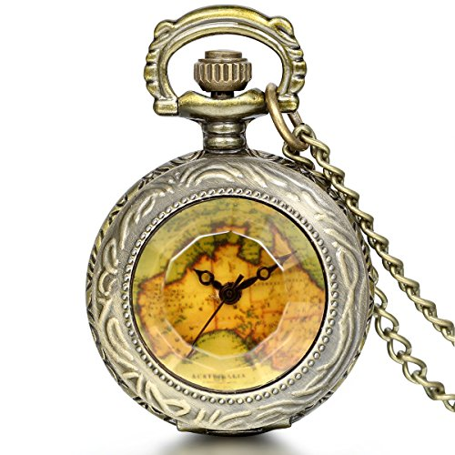 JewelryWe Vintage Retro World Map Pattern Quartz Chain Pendant Bronze Pocket Watch Necklace 31.5 Inch Birthday Gift (with Gift Bag)