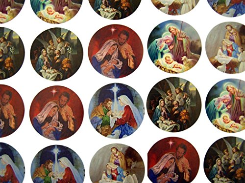 The Holy Family Assorted Nativity Scenes Stickers, 1 1/2 Inch, Roll of (Christmas Roll Stickers)