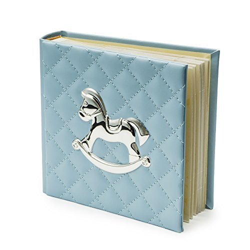 Modali Baby Elegant Fine Photo Album Beautifully Crafted Blue Faux Leather 40 Pages Space for 80 Pictures 4 x6 Adorned with Silver Plated Rocking Horse