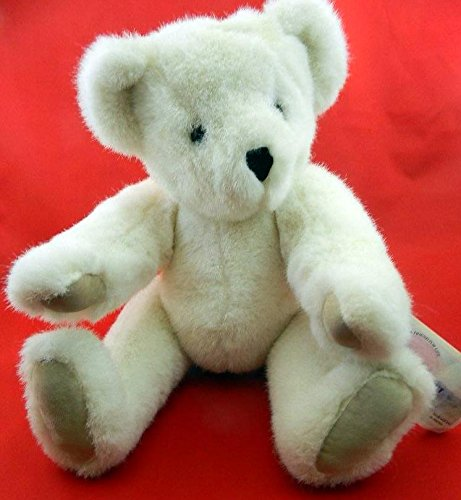 "IVORY / WHITE 1992 16"" VERMONT JOINTED TEDDY BEAR TAN VELOUR PAWS made in USA"