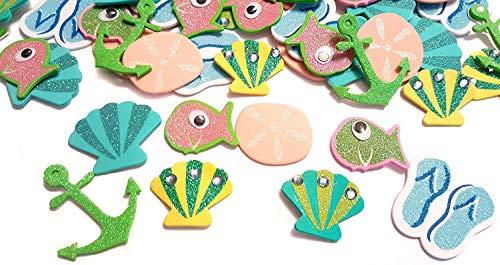 56 Piece Glitter Beach Foam Peel and Stick Stickers