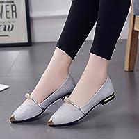 Bajo talón plano zapatos, Cicuta las mujeres cómodo zapatillas Vestido Sandalias Zapatos señaló Toe Oxford Zapatos, Algodón, Plateado