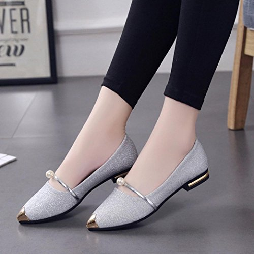 Low Heel Flat Shoes,Hemlock Women Comfortable Slippers Dress Sandals Shoes Pointed Toe Oxford Shoes (US:7, Silver) (Womens Flat Dress Shoes)