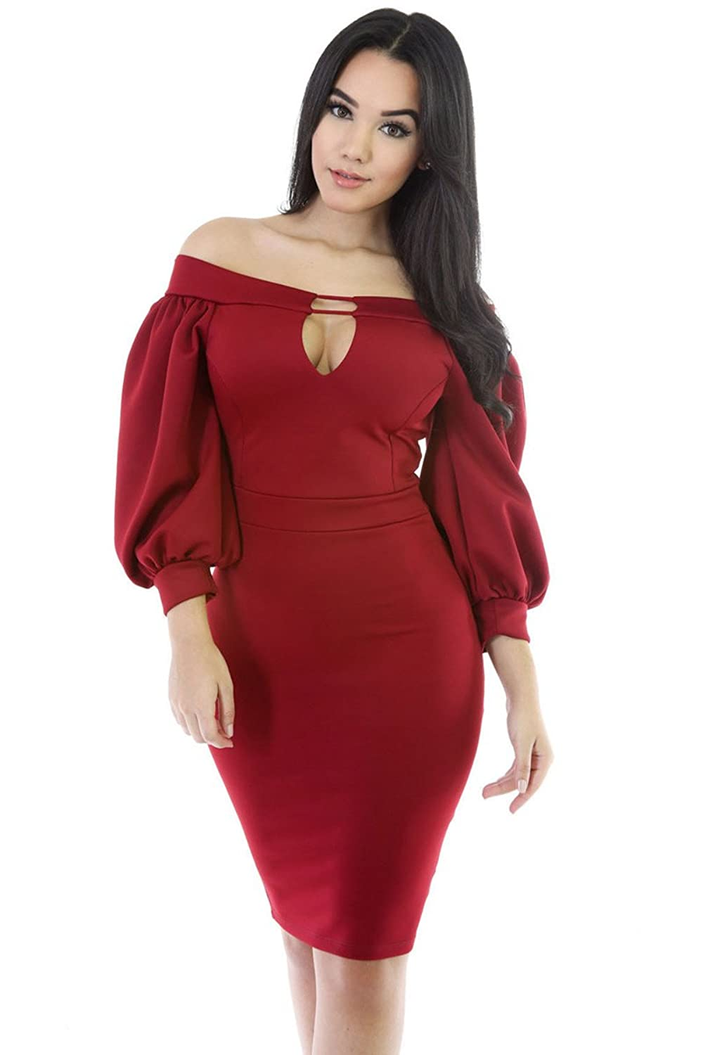 BENNINGCO Women's Puffs Peep Hole Off Shoulder Midi Bodycon Dress