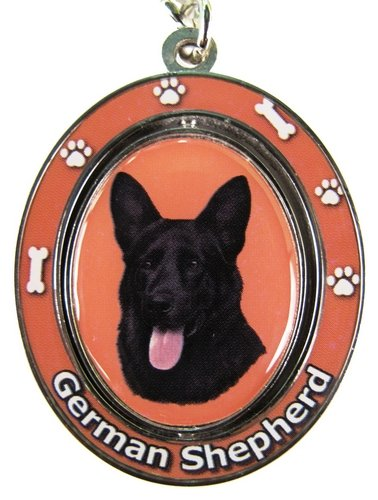 German Shepherd, Black Key Chain ''Spinning Pet Key Chains''Double Sided Spinning Center With German Shepherds Face Made Of Heavy Quality Metal Unique Stylish German Shepherd Gifts