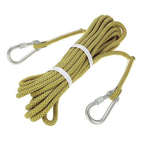 10m Abseiling Rope Outdoor Safety Professional Rock Climbing Rope Cord Caving Rappelling Survival Auxiliary Cord Climbing Equipment with Carabiner Docooler 10.5mm