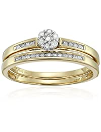 18k Yellow Gold over Silver Diamond Round Cluster Bridal Ring, Size 7