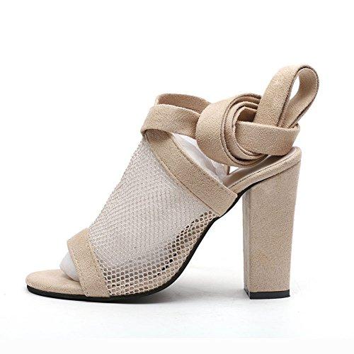Pied Chaussures Sangle Femmes Grande Chaussures xie Chaussures Creuses de des Super Net pour Khaki Talon épais Femmes d'été avec Sandales Taille Nouvelle WqqZdUOrT