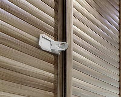 Sure Basics Sliding Door Lock for Child Safety, Sliding Window Locks, Closet, Patio Door Lock, Grey/White (2 Pack)