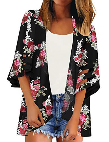 LookbookStore Women's Open Front Floral Print Kimono Mesh Panel 3/4 Bell Sleeve Lightweight Beach Swimsuit Cover Up Black Size Small