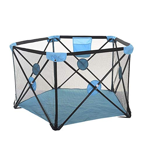 Foldable Children Indoor Home Baby Fence 5 Panel Safety Anti-Fall Toddler Crawling Mat Marine Ball Pool, Suitable for Children/Toddlers/Newborn/Baby Safe Crawling (Color : Blue) ()