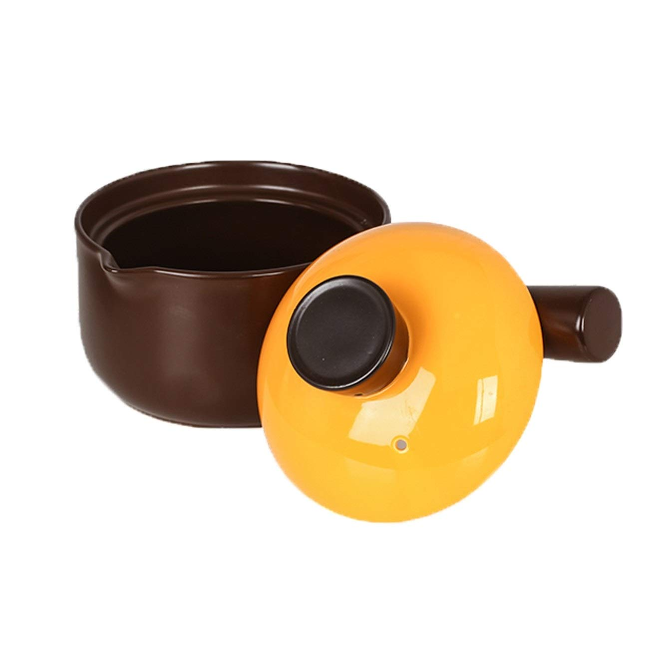 GUYUEXUAN Ceramic Milk Pot Single Handle Small Casserole Baby Food Supplement Pot Baby Boiled Noodles Hot Milk Small Pot Home Gas Milk Pot (Color : Rich Coffee Color) by GUYUEXUAN