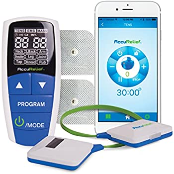 AccuRelief Wireless Tens/EMS Pain Relief Device with Remote and Mobile App, 0.22 Pound