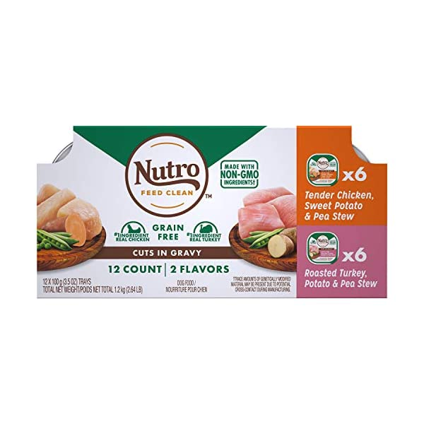 NUTRO Adult High Protein Natural Grain Free Wet Dog Food Cuts in Gravy Tender Chicken, Sweet Potato & Pea Stew, Roasted Turkey, Potato & Pea Stew Variety Pack, (12) 3.5 oz. Trays