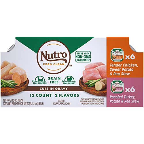 (NUTRO Grain Free Wet Dog Food Cuts in Gravy Variety Pack Tender Chicken, Sweet Potato & Pea Stew, Roasted Turkey, Potato & Pea Stew, (24) 3.5 oz. Trays)