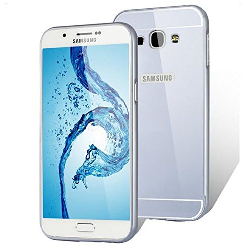 Samsung A8 Hard Silver Metal Bumper with Acrylic Mirror Back Designer Cover Case Hot Fashion New Arrival Best Quality Low Price Portable, Lightweight, Durable, Sleek, Not Bulky, Flexible, Amazing Grip, Ultra Tough, Raised Lip of 1.2mm Protects Against Flat Surface, Waterproof, Compact Look, Great Style with No Scratches and Bumps, Precision Cut Design for Easy Access to All Buttons and Ports, Ultra-Thin, Anti Friction, Damage Resistant, Saves Phone from Dents, Accidental Chips & Shocks