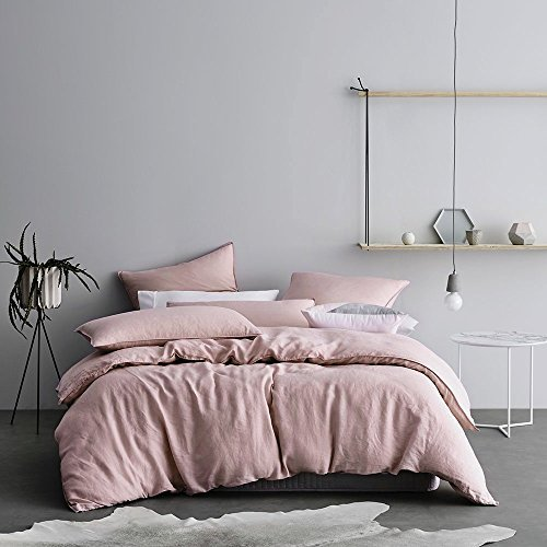 Eikei Washed Cotton Chambray Duvet Cover Solid Color Casual Modern Style Bedding Set Relaxed Soft Feel Natural Wrinkled Look (King, Rose Dust)
