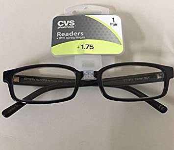 f8f9c5df54 (3 Pack) CVS Foster Grant Reading Glasses Simply Specs Carter Black +1.75  New