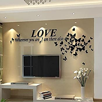 Alicemall Black Love Wall Stickers Romantic Houseful Acrylic Butterfly And  LOVE Letters 3 Dimensional Wall Part 54