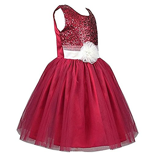 ZAH Sequin Mesh Flower Party Wedding Gown Bridesmaid Tulle Dress Little Girl(082-Dark & Red,8Y) (Fancy Dress Uk)