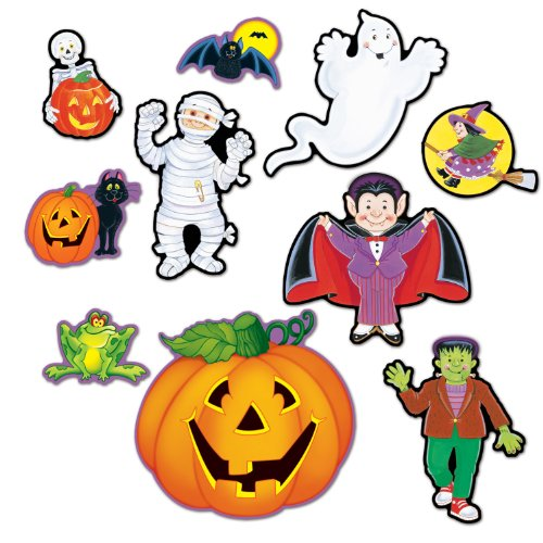 Halloween Character Cutouts (Beistle 10-Pack Halloween Cutouts, 5-Inch to 12-Inch)